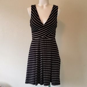 DONNA MORGAN Black & White Striped Flare Dress